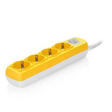 Picture of Sas 100-11-617 Colourline Power Strip with 4 Slots - Yellow